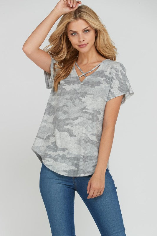 Ivory Camouflage Short Sleeve Rib Knit Tunic Top