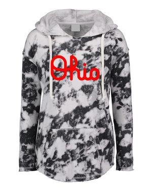 Black Tie Dye Ohio Light Weight Hoodie