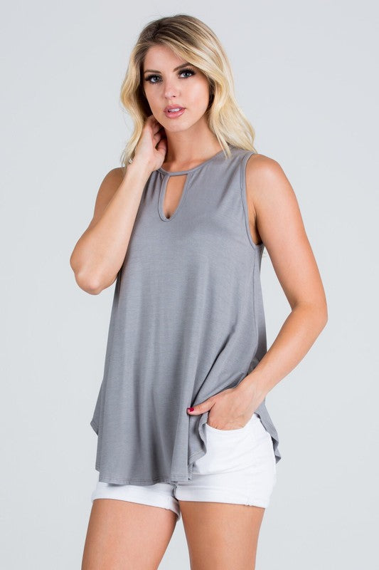Frost Grey Solid Sleeveless Top with Key Hole