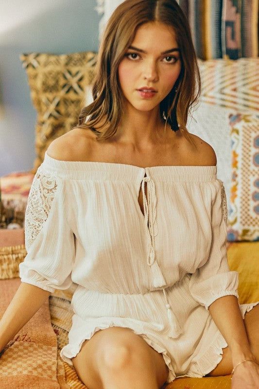 White Crochet Off the Shoulder Romper
