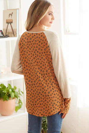 Rust French Terry Leopard Print Color Block Long Sleeve Top
