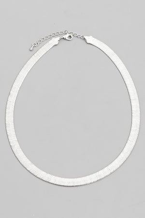 Silver Wide Herringbone Necklace