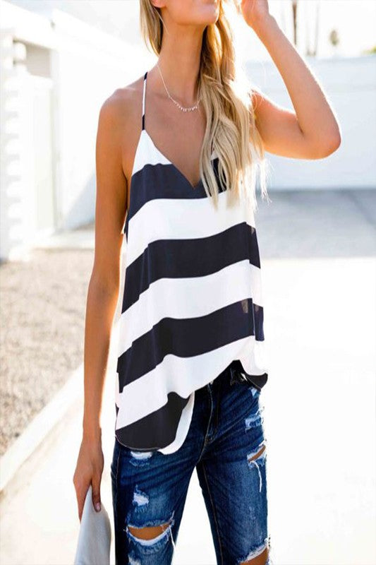 White and Navy Stripe Tank Top