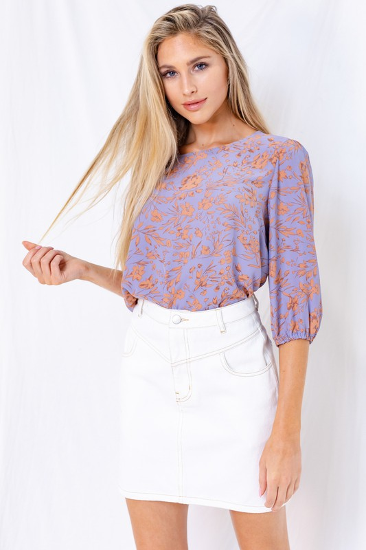 Lavender Floral Quarter Sleeve Top