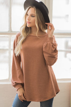 Rust Long Sleeve Tunic Top with Crochet Open Back