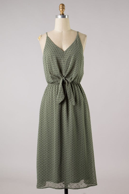 Light Olive Diamond Print Front Knot Dress with Lining