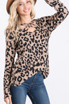 Mocha Long Sleeve Criss Cross V Neck Animal Print Top