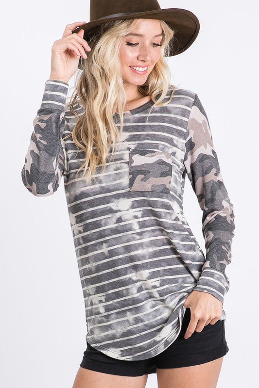 Charcoal Long Sleeve Tie Dye Stripe Tunic Top with Camo Contrast