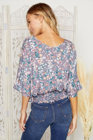 Lilac V-Neck Floral Smock Waistband Top
