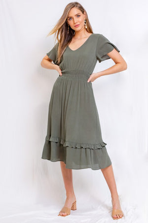 Olive Flare Sleeve V-Neck Ruffle Bottom Midi Dress