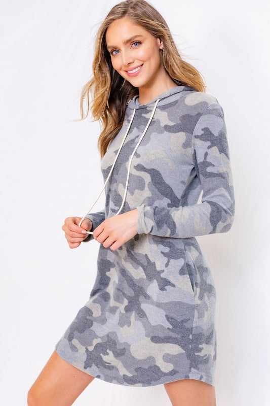 Camouflage Long Sleeve Hoodie Dress