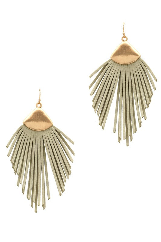 Feather Shape Leather Tassel Hook Earrings
