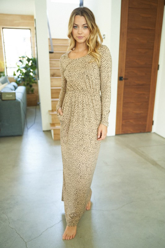 Taupe Animal Print Long Sleeve Maxi Dress with Pockets