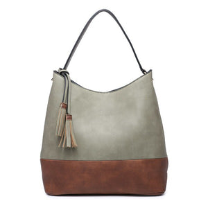 Two Tone Hobo Bag with Tassel Trim and Three Compartments
