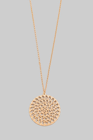 Floral Design Circle Disc Pendant Necklace