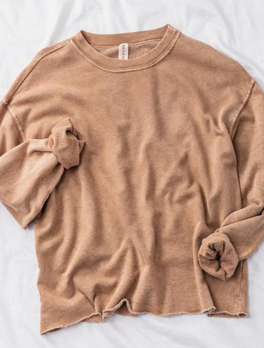 Taupe Raw Hem French Terry Cropped Sweatshirt