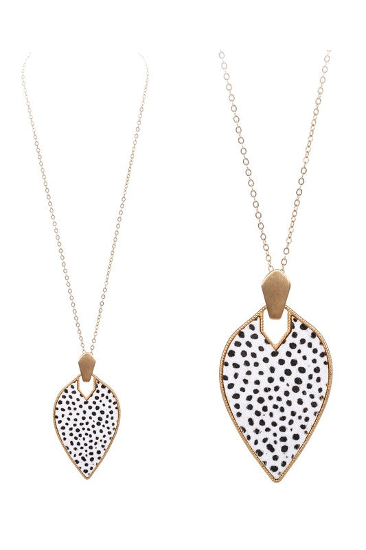 Cheetah Marquise Shape Calf Hair and Metal Necklace