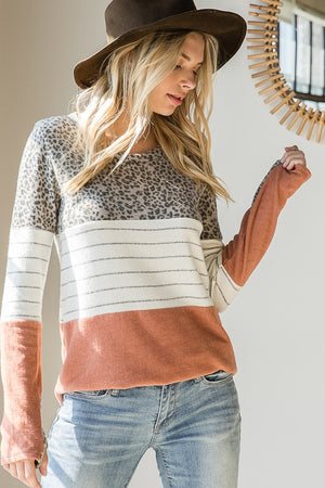 Brick Leopard Color Block Long Sleeve Top