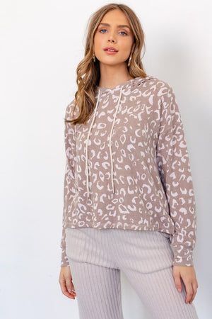 Taupe and Ivory Animal Print Hoodie