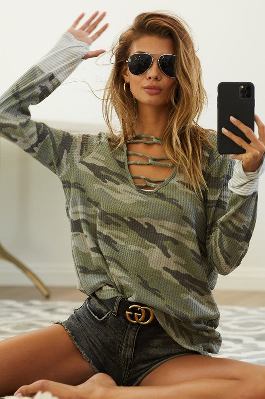 Charcoal and Green Camouflage Thermal Waffle Top