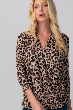 Taupe Leopard Surplice Long Sleeve Top