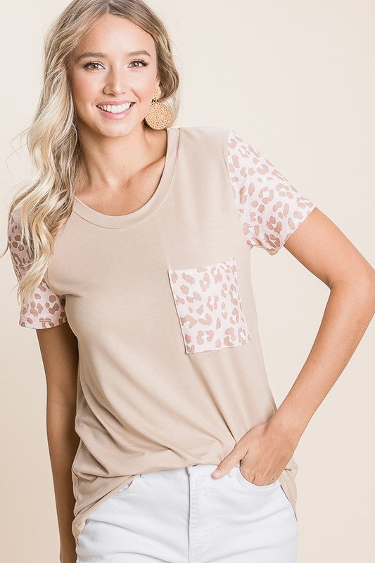 Beige Short Sleeve Top With Animal Print Sleeves