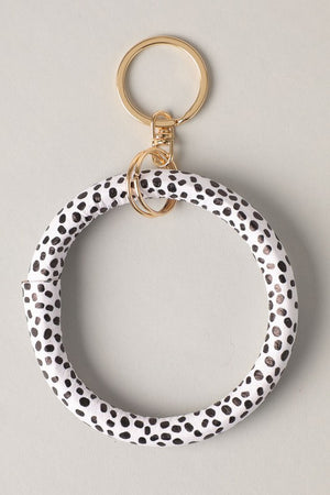 Genuine Leather Circle Bracelet Bangle Key Chain