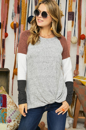 Grey/Rubber/White/Charcoal Color Block Long Sleeve Tunic Top