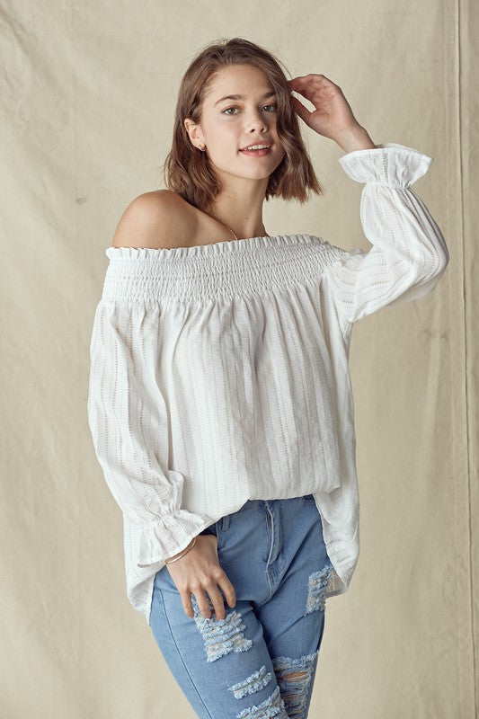 Off White Crinkled Smock Off the Shoulder Top