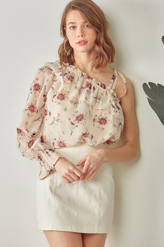 Floral Asymmetric One Shoulder Ruffle Top