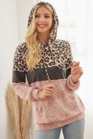 Mauve Long Sleeve French Terry Tie Dye and Animal Print Hoodie Top