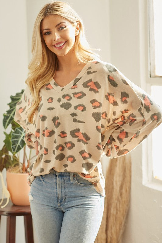 Oatmeal Long Puff Dolman Sleeve V Neck Animal Tunic Top