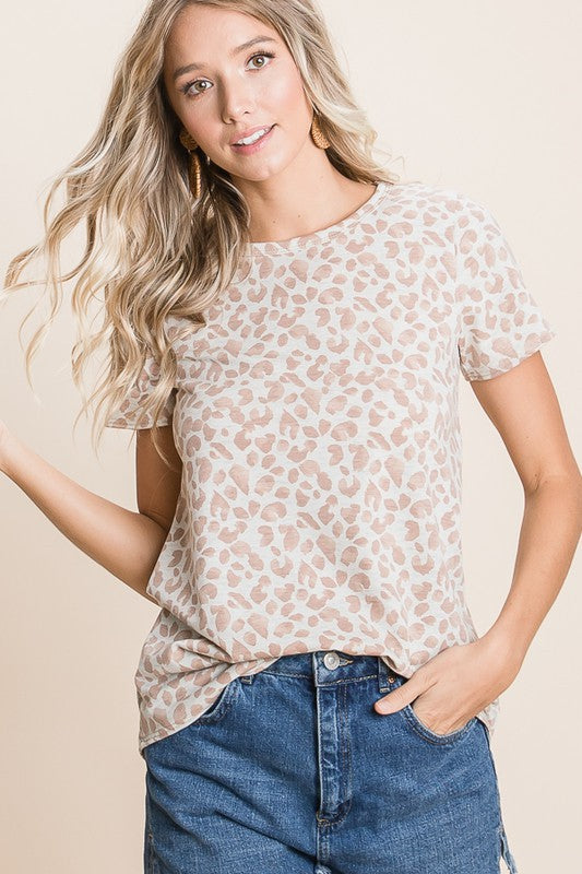Taupe Short Sleeve Animal Tunic Top