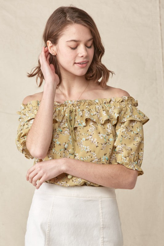 Citron Floral Off the Shoulder Ruffle Top
