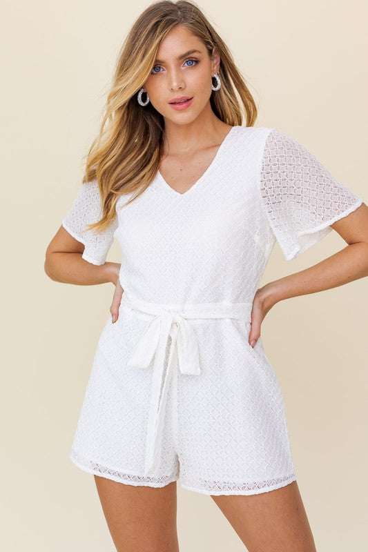 Short Sleeve V-Neck Cut Out Back Lace Romper