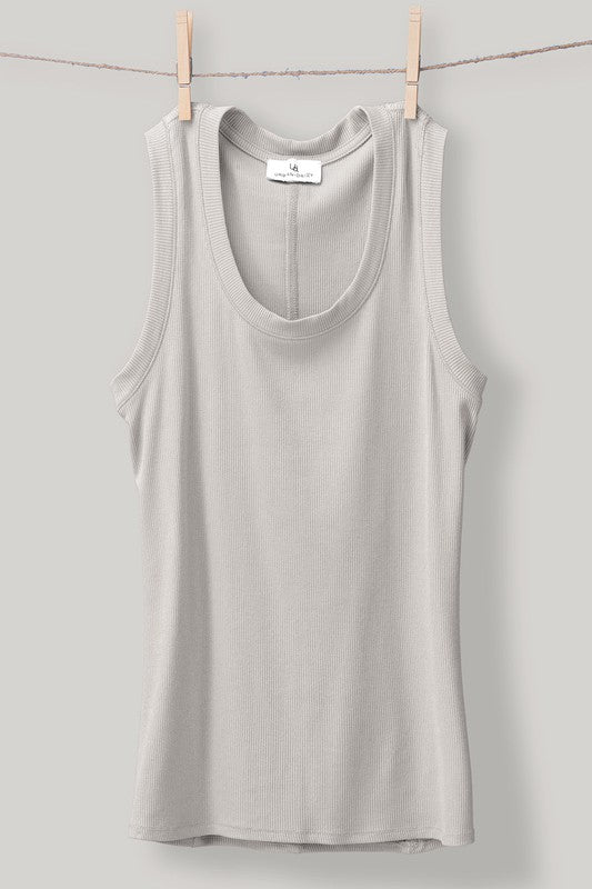 Ash Grey Ribbed Knit Tank Top