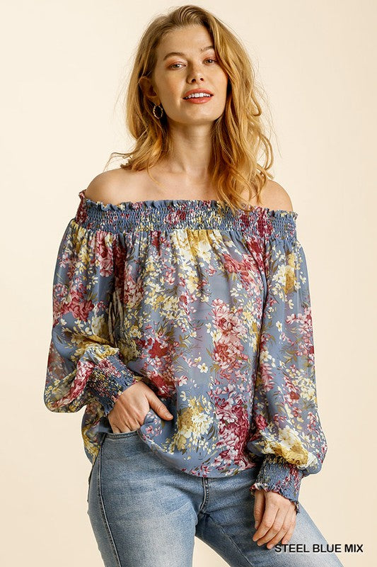 Steel Blue Sheer Floral Off the Shoulder Top