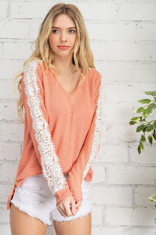 Coral Waffle Knit V-Neck Top with Laced Sleeves