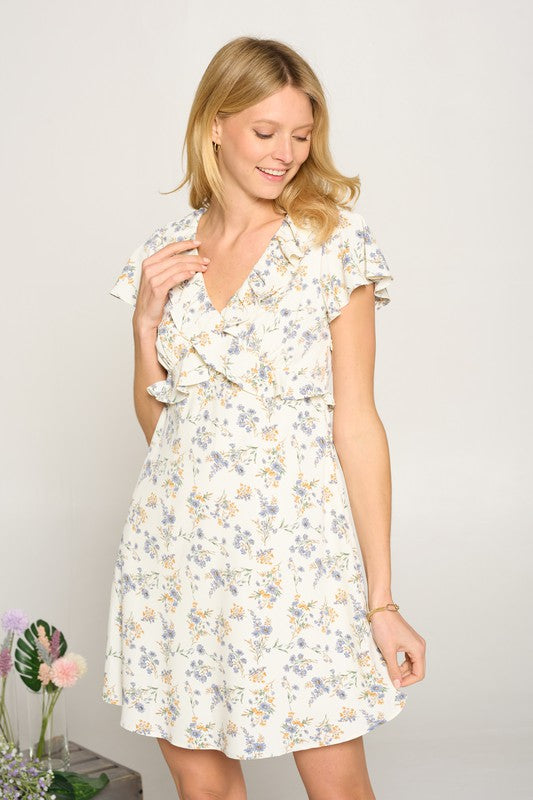 Cream Floral Ruffle V-Neck Dress