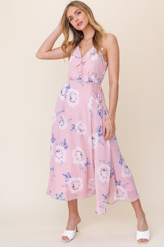 Blush Floral Ruffled Dress