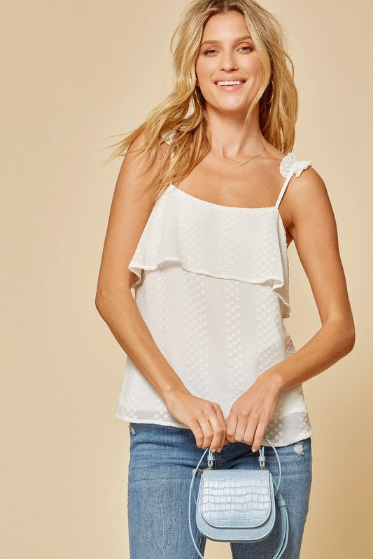 Ivory Swiss Dot Tank with Ruffles
