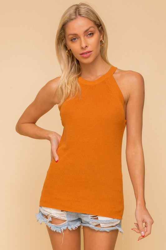 Camel Raglan Sweater Tank Top