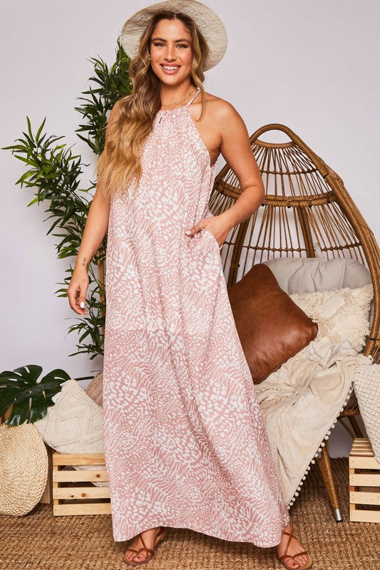 Cocoa and Ivory Sleeveless Animal Print Maxi Dress