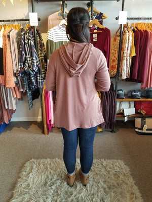Rosewood Waffle Knit Hoodie Cardigan with Pockets