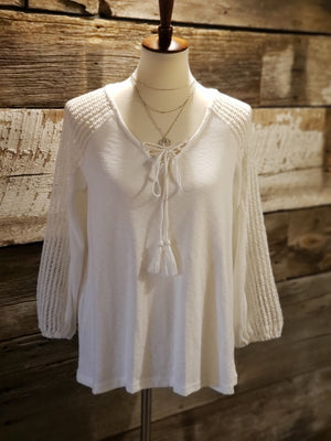 White Tassel Long Sleeve Knit Top