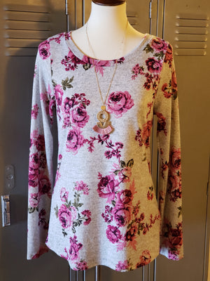 Heather Grey L/S Floral Print Top