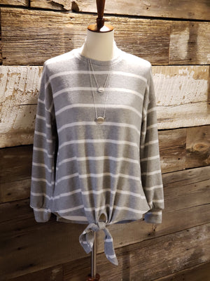 Grey/Ivory Stripe L/S Top with Front Tie-ALL SALES FINAL