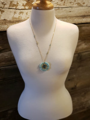 Circle Fan Pendant Necklace