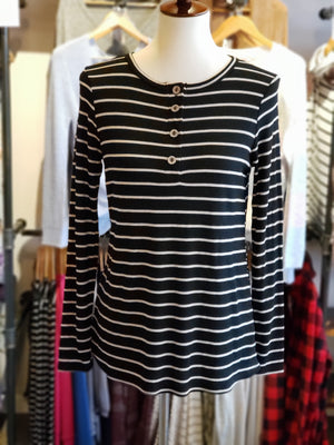 Black Thermal with Wooden Buttons and Striped Print  - ALL SALES FINAL