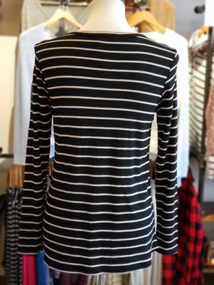 Black Thermal with Wooden Buttons and Striped Print